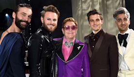 Statuette in Hand, Elton John Gets a Hero's Welcome at His Annual Oscars Viewing Party - Oscars Party Diary: Inside the A-List...