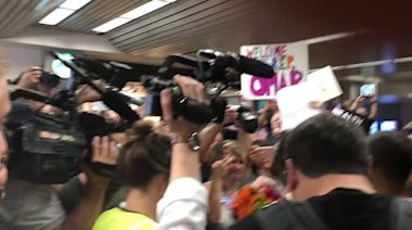 Large Crowd Waits at Minnesota Airport to Welcome Ilhan Omar Home