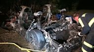 2 killed in fiery Tesla crash that took 4 hours to extinguish