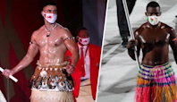 Wait, now there's 2 shirtless, muscular, greased-up Olympic flag bearers!?