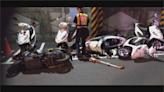 衰! 疑蟑螂爬上左小腿 女騎士摔車撞3警車