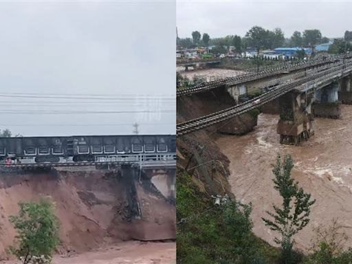 中國破紀錄降雨!山西爆災情 火車困半空中、多轎車掉天坑