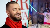 Justin Timberlake & Son Silas Have Lightsaber Duel In Rare Family Video At Disney World