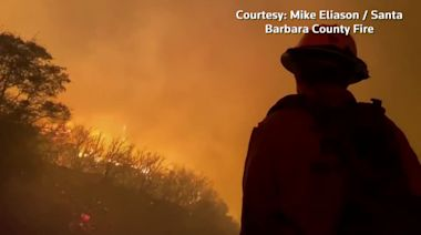 Fast-moving fire threatens homes in Santa Barbara County