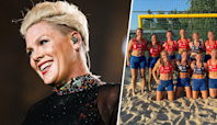 Pink offers to pay fines for handball team that wouldn't wear bikini bottoms