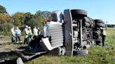 Tanker truck tips over on ramp off Interstate 495 in Foxboro, causing leak and injuries to driver
