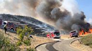 Fire drop on Blue Ridge Fire in Chino Hills