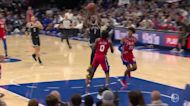 Kevin Durant with an and one vs the Philadelphia 76ers