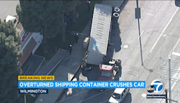 Shipping container crushes parked car in Wilmington