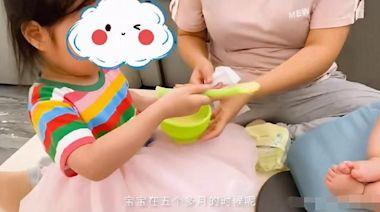 朱丹娘仨同框,3歲女兒餵弟弟輔食,兒子正臉首曝光厚嘴唇太像爸