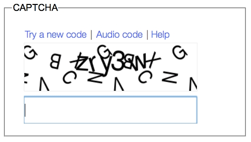Screen Shot Of A Visual CAPTCHA Showing Code Word Beneath Randomly Moving Letters