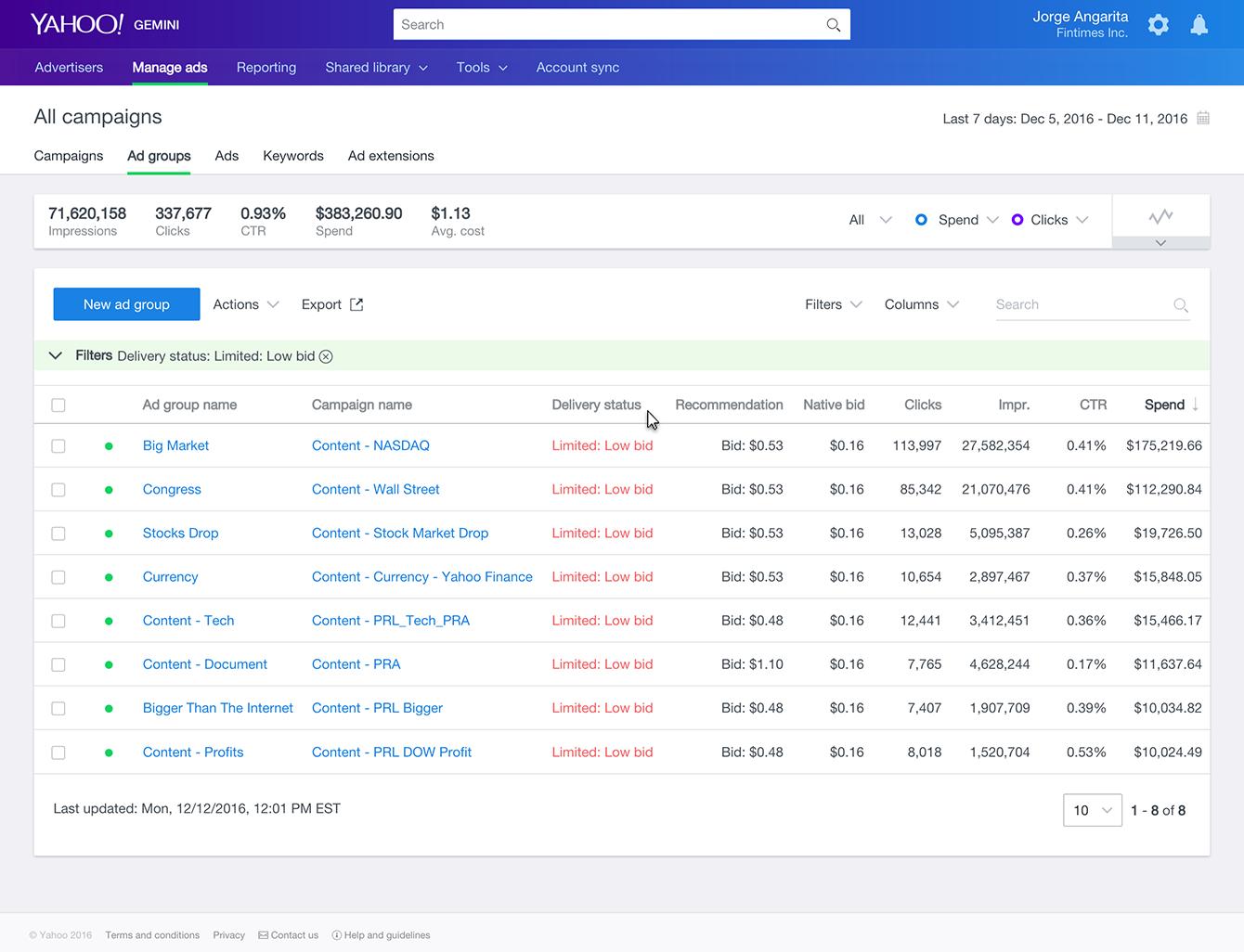 Yahoo Gemini: UI example, native bid alerts