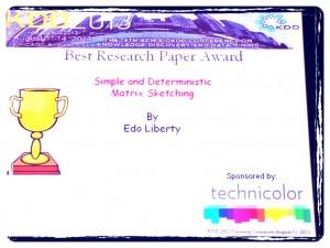 Edo Liberty KDD 2013 Best Research Paper award