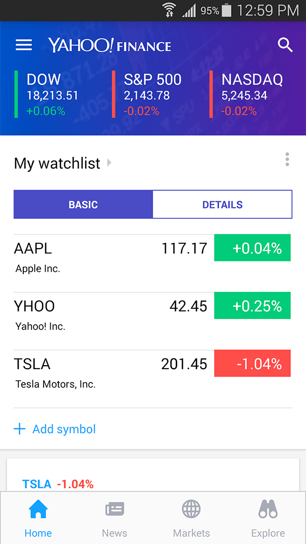 Finance Yahoo Mobile