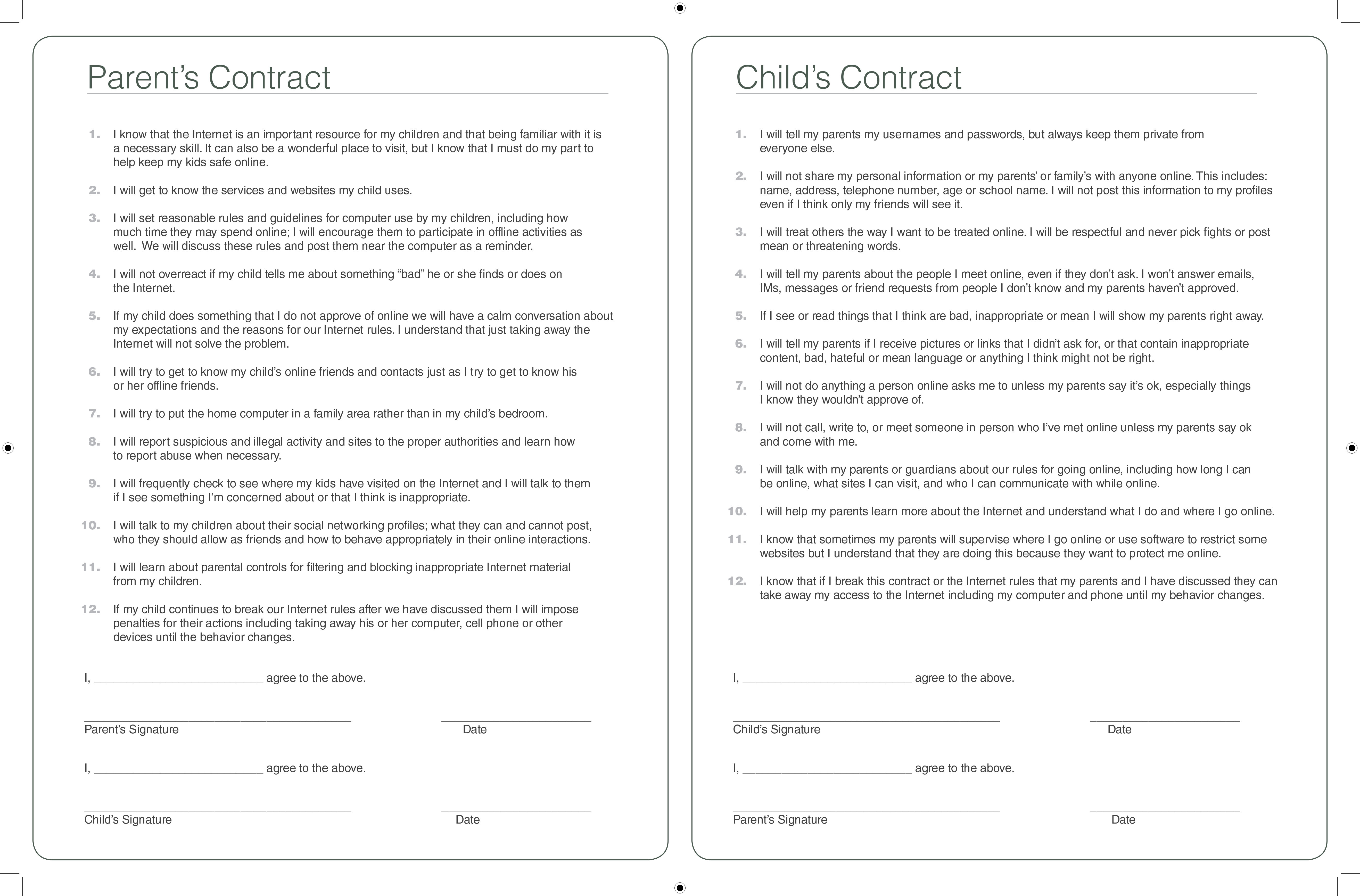 Family Online Safety Contract - Yahoo Safety
