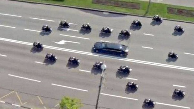 Why does Donald Trump drive around inside a penis shaped motorcade?