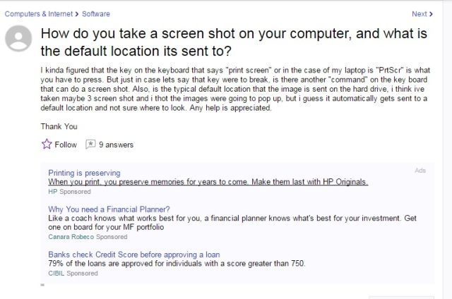 How do you take a screen shot on your computer, and what is the default location its sent to?