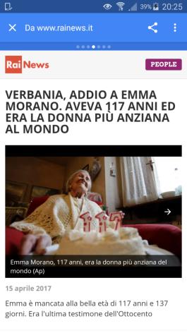 Morta Emma Morano la donna più anziana al mondo,aveva 117 anni e 137 giorni. È morta oggi pomeriggio nel sonno,15 aprile 2017?