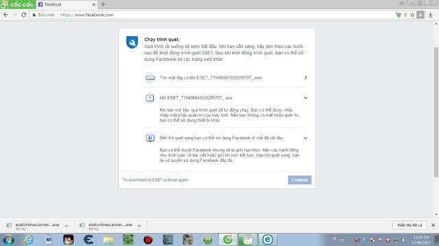 Lỗi khỉ gió gì đây :((( Facebook yêu cầu tải ESET nhưng khi Run thì không hiện gì và nó cứ bị thế này?