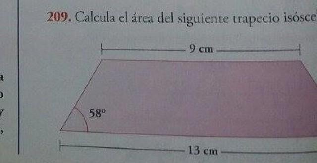 ¿Cómo calcular el área de un trapecio isósceles?