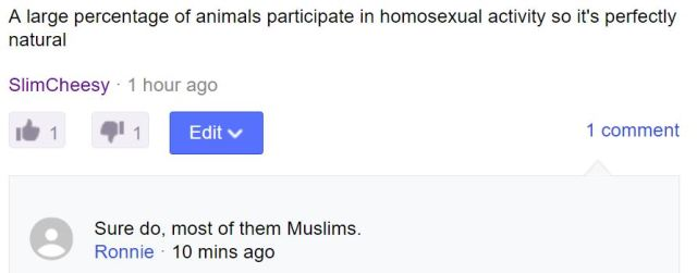 Are most animals homosexual Muslims as Ronnie suggests?
