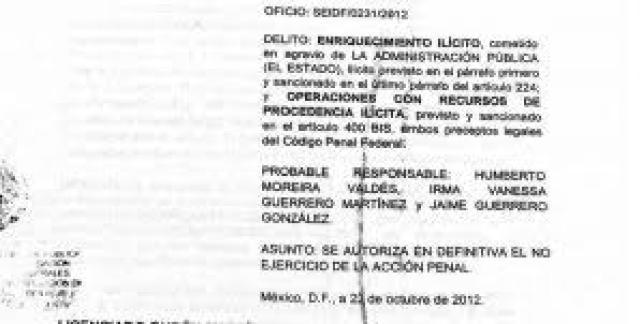 ¿Por que la PGR en la administración de Felipe Calderón, decidió el no ejercicio de la acción penal en contra Humberto Moreira?