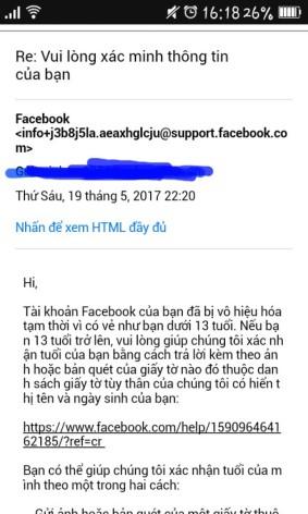 Bị khóa FB do bị rip13t.Đã gửi đủ mấy ngày r,fb phản hồi mình mấy thư như v.Giờ lm s? :(với qa 28ngày có bị xóa nick k ?:(?