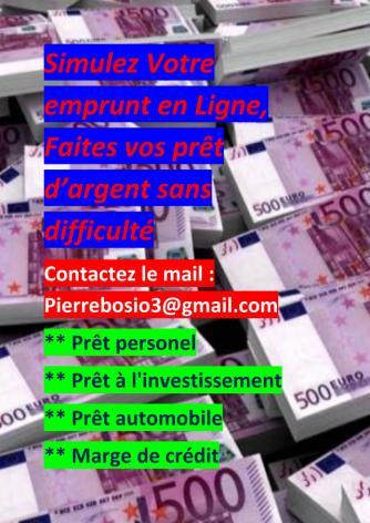 Offre de prêt entre particulier - Pour vos besoins de prêt d'argent sérieux et rapide, contactez l'email : pierrebosio3@gmail.com !!!!?