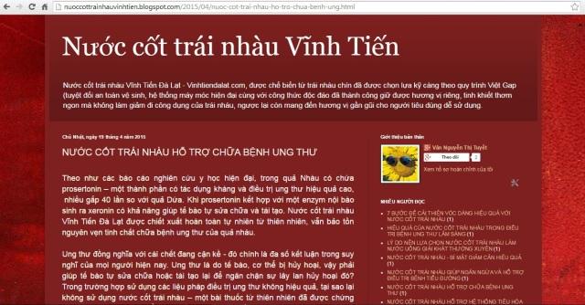 Có đọc tin trên nuoccottrainhauvinhtien.blogsp... nghe bảo nước cốt trái nhàu có tác dụng ngăn ngừa và chữa bệnh ung thư, có đúng ko ạ?