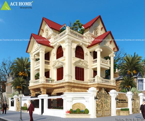 Thiết kế biệt thự kiểu Pháp ở đâu đep?Đơn vị thiết kế nào uy tín tại Việt Nam?ACI HOME nhé! 0916 88 00 55?