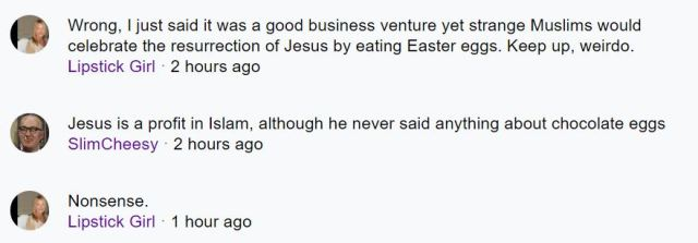 Is Dipstick Girl wrong to suggest chocolate easter eggs are mentioned in the bible?