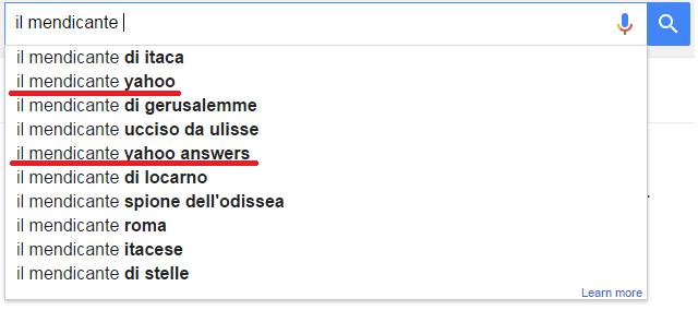 Il Mendicante popolare anche su google?