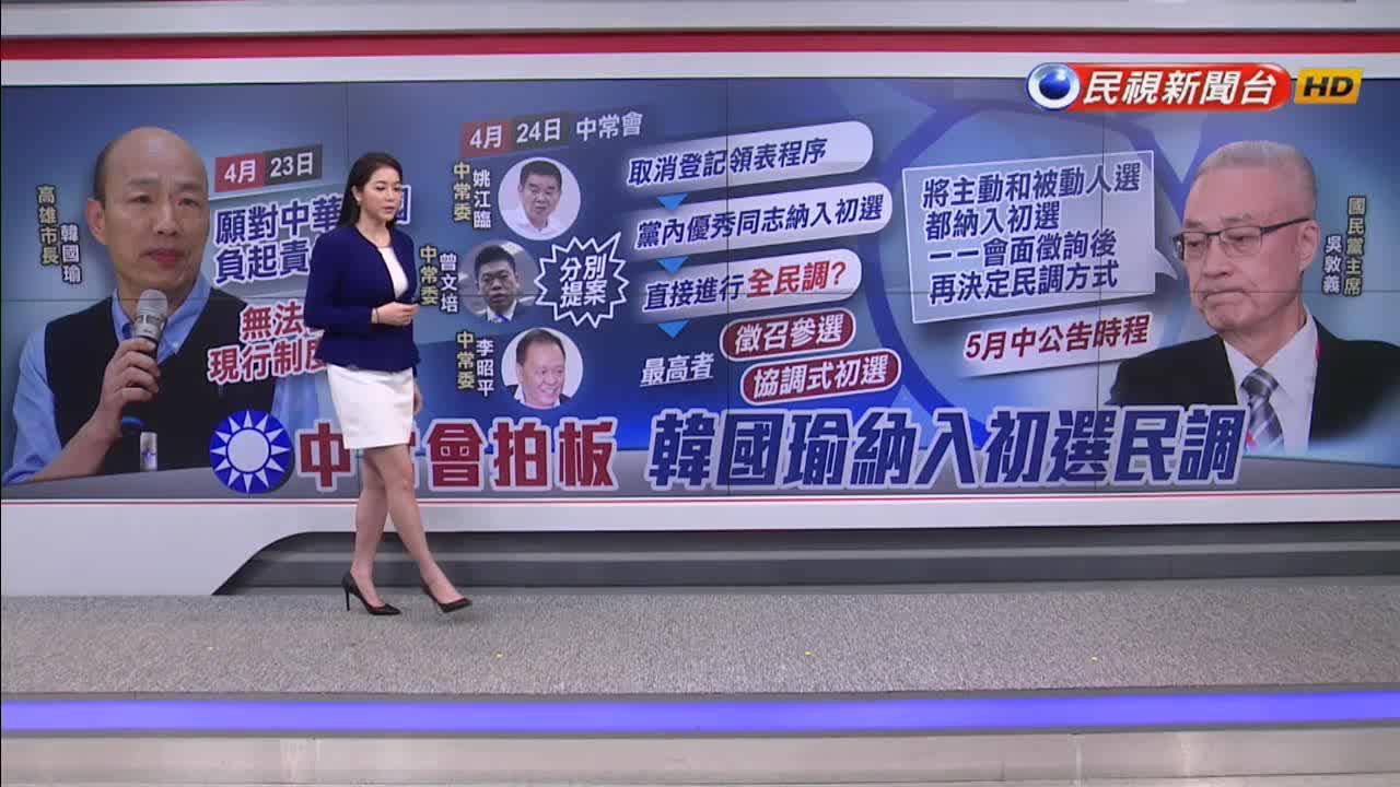 國民黨設「韓國瑜條款」 主、被動參選人皆納初選
