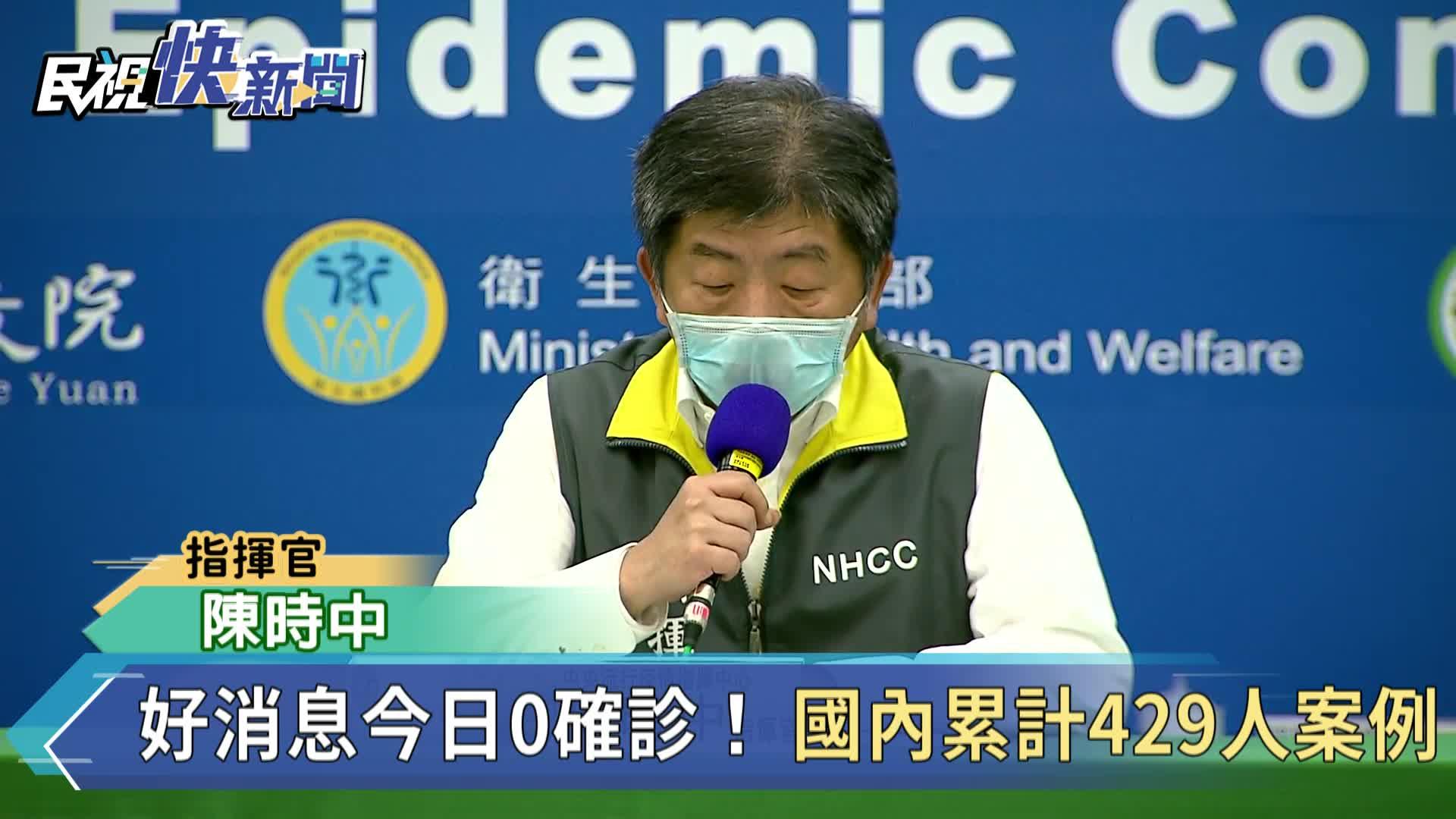 快新聞/好消息! 台灣今「零確診」累計429例 已14天無本土病例