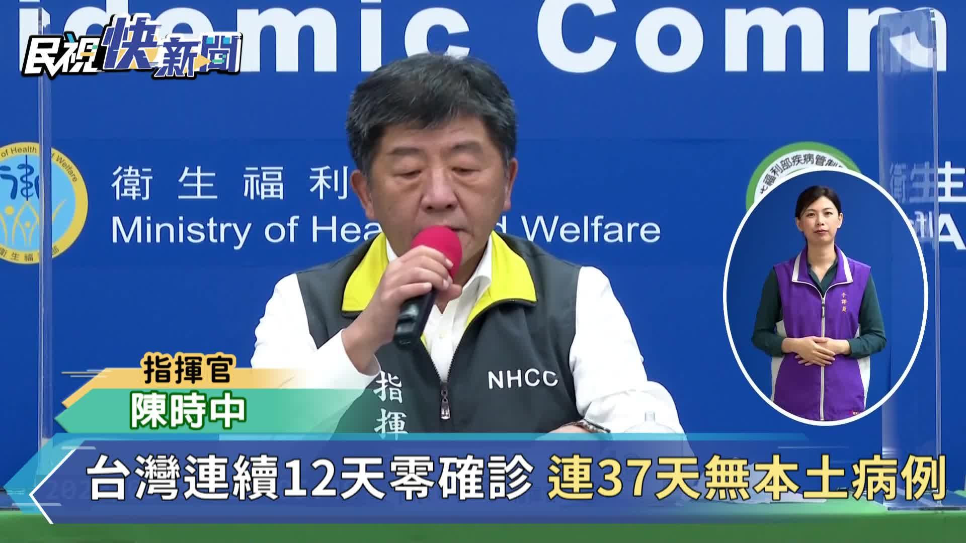 快新聞/台灣連續12天零確診 連37天無本土病例