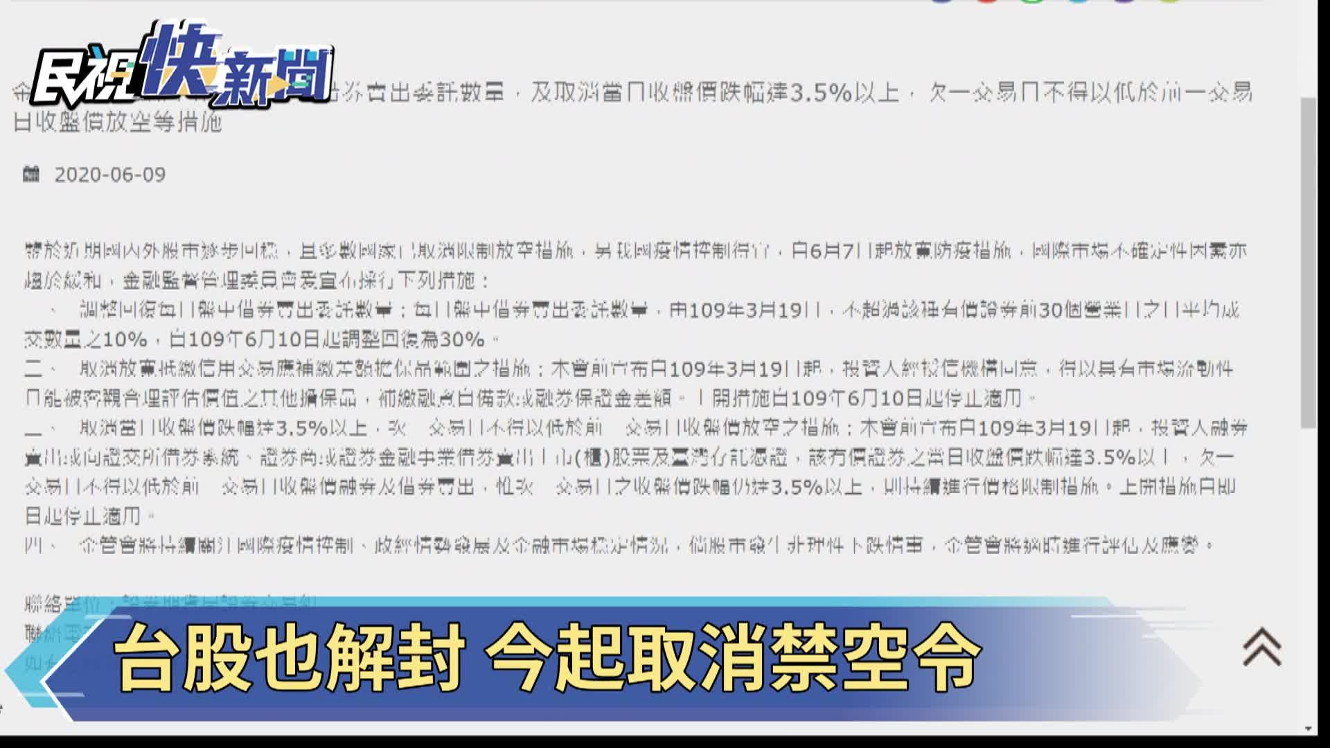 快新聞/股市穩定 金管會解除有條件禁空令等三大措施