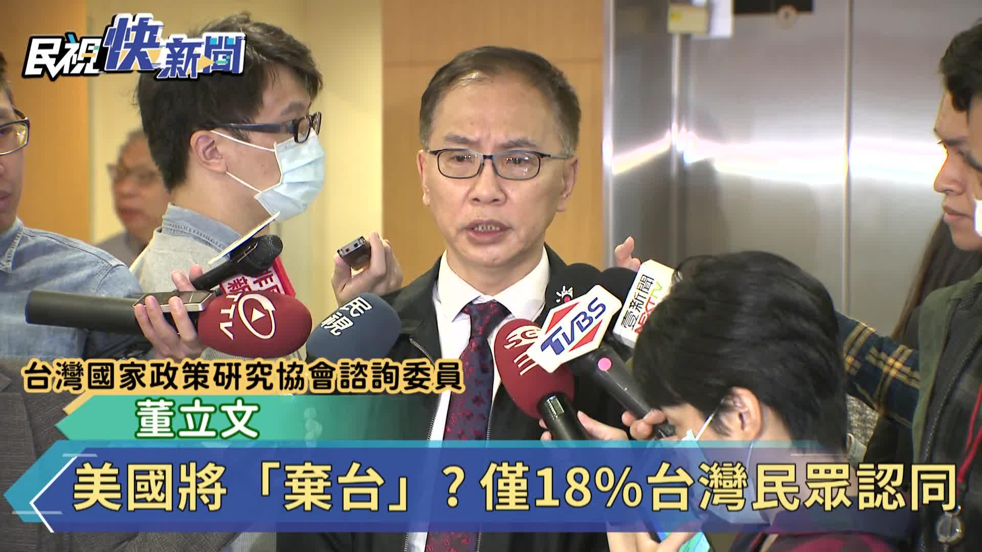 美國將「棄台」? 僅18%台灣民眾認同