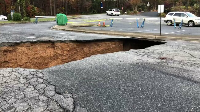Morganton North Carolina Post Office Parking Lot Swallowed By Sinkhole