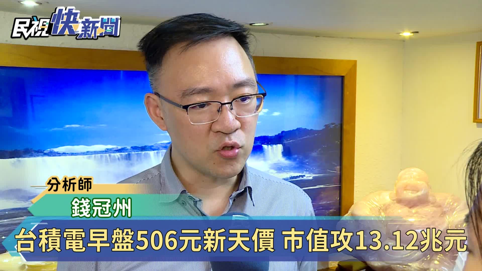 台積電早盤飆506元新天價 市值攻13.12兆元