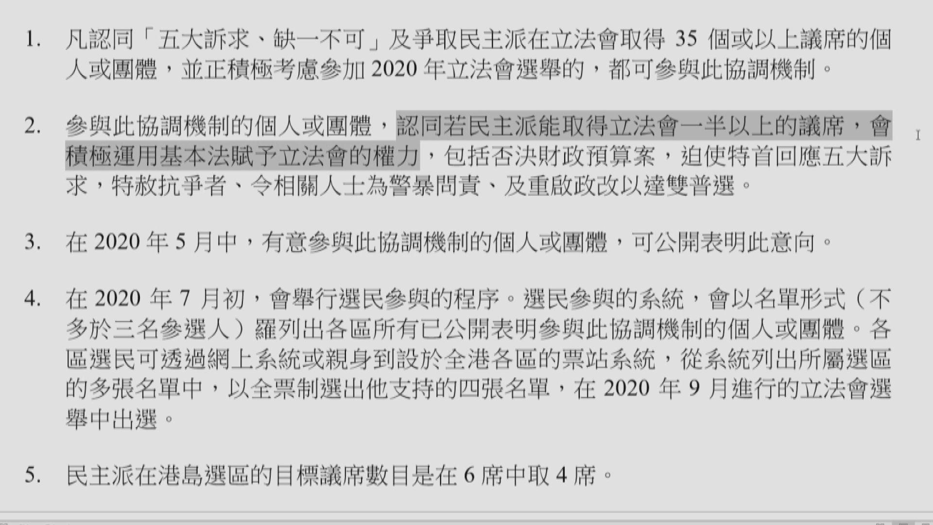【初選原由】爭議會過半數議席 否決預算案迫回應五大訴求