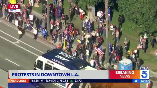 news.yahoo.com: Trump supporters gather in downtown LA as demonstrators storm U.S. capitol