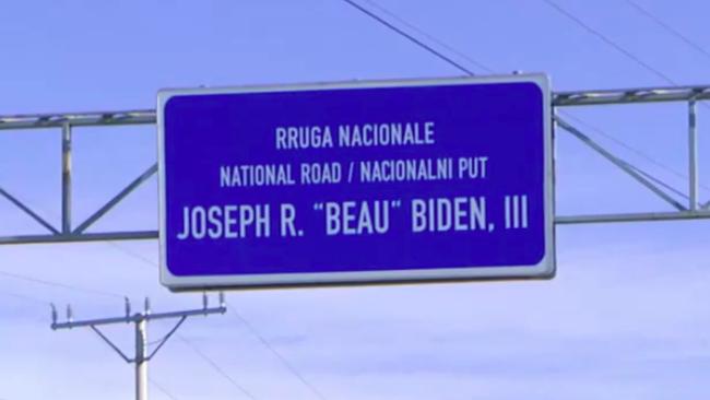 Kosovans Gather by 'Beau Biden Highway' to Celebrate New US President