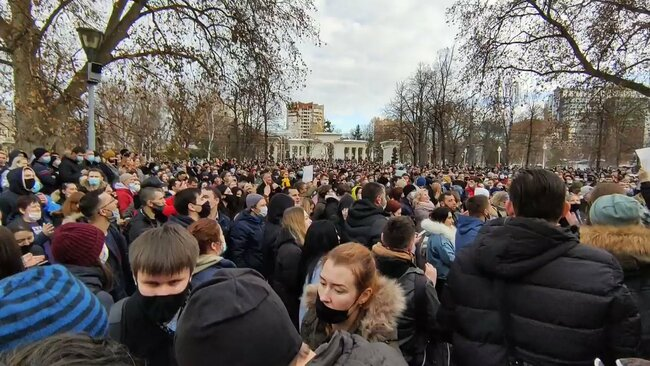 Thousands in Krasnodar Join Protests Calling for Navalny's Release