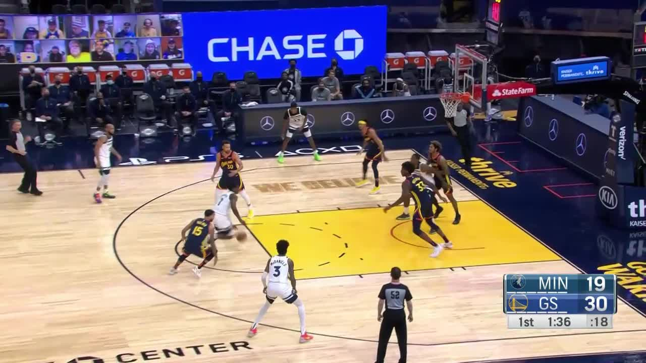 Anthony Edwards with a dunk vs the Golden State Warriors