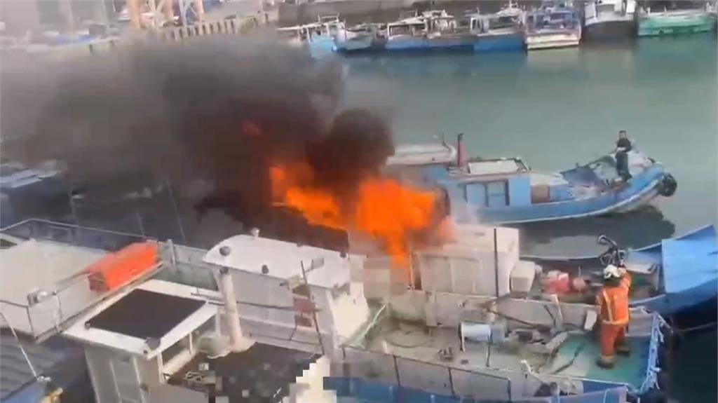 桃園永安漁港漁船大火 幸火勢控制住無人傷亡