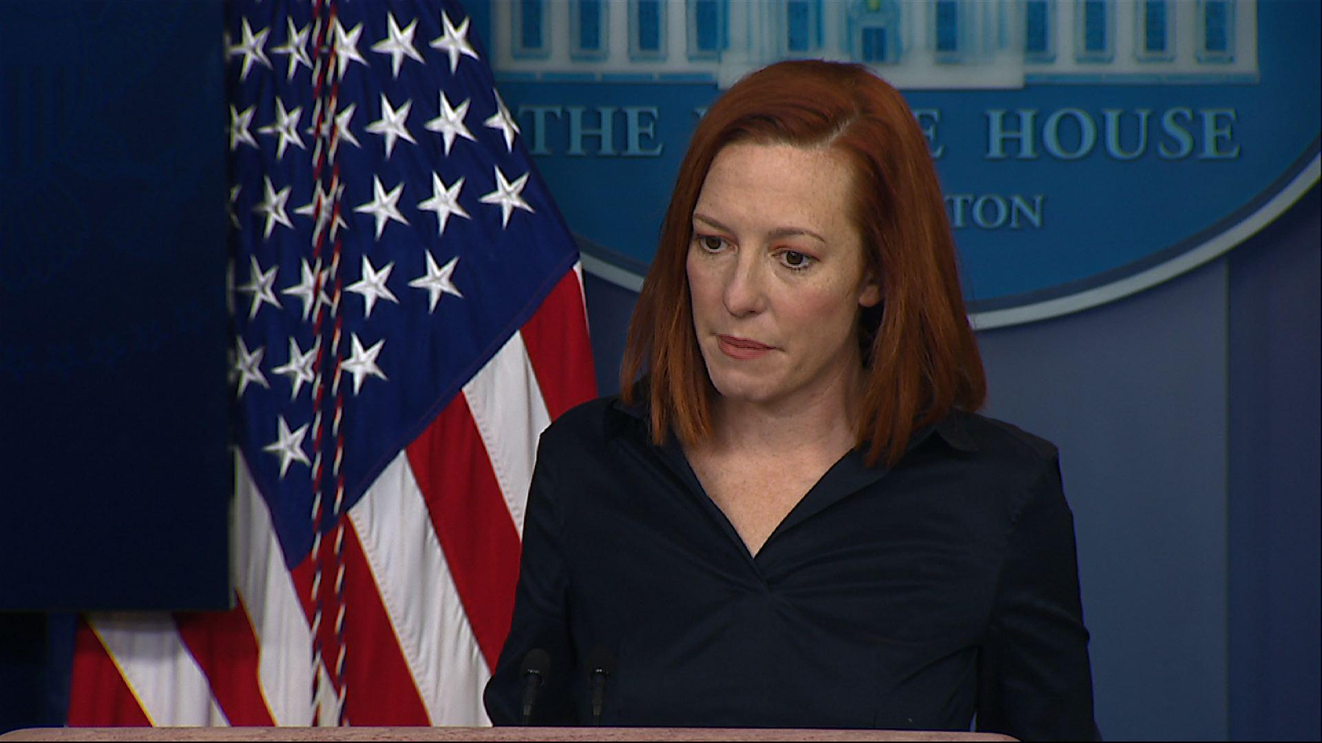 White House press secretary Jen Psaki refused to give credit to the Trump administration for recent progress in the COVID-19 vaccine rollout, saying no one