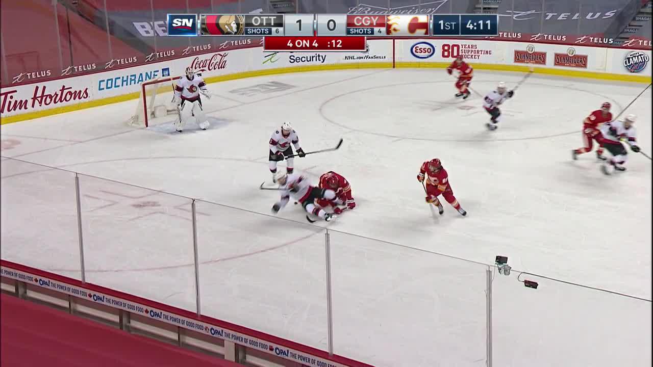 Ryan Dzingel with a Goal vs. Calgary Flames