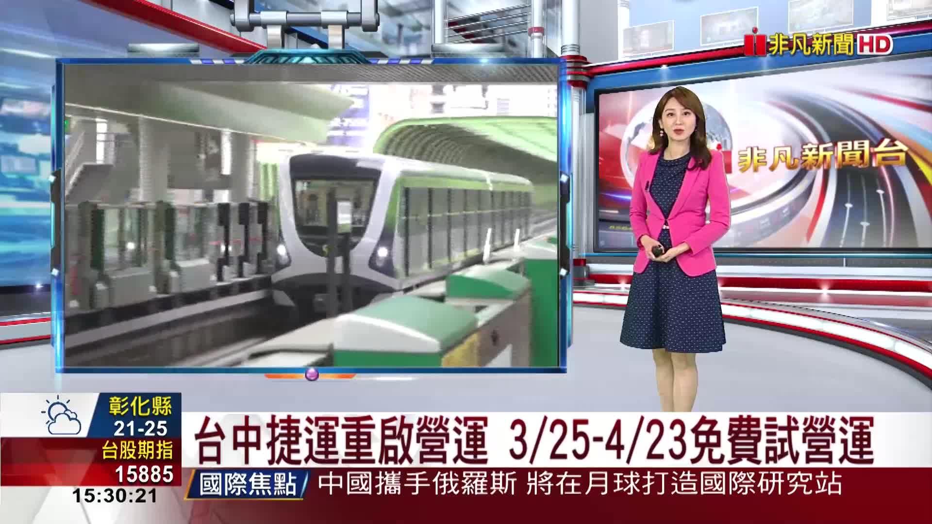 台中捷運重啟營運 3/25-4/23免費試營運