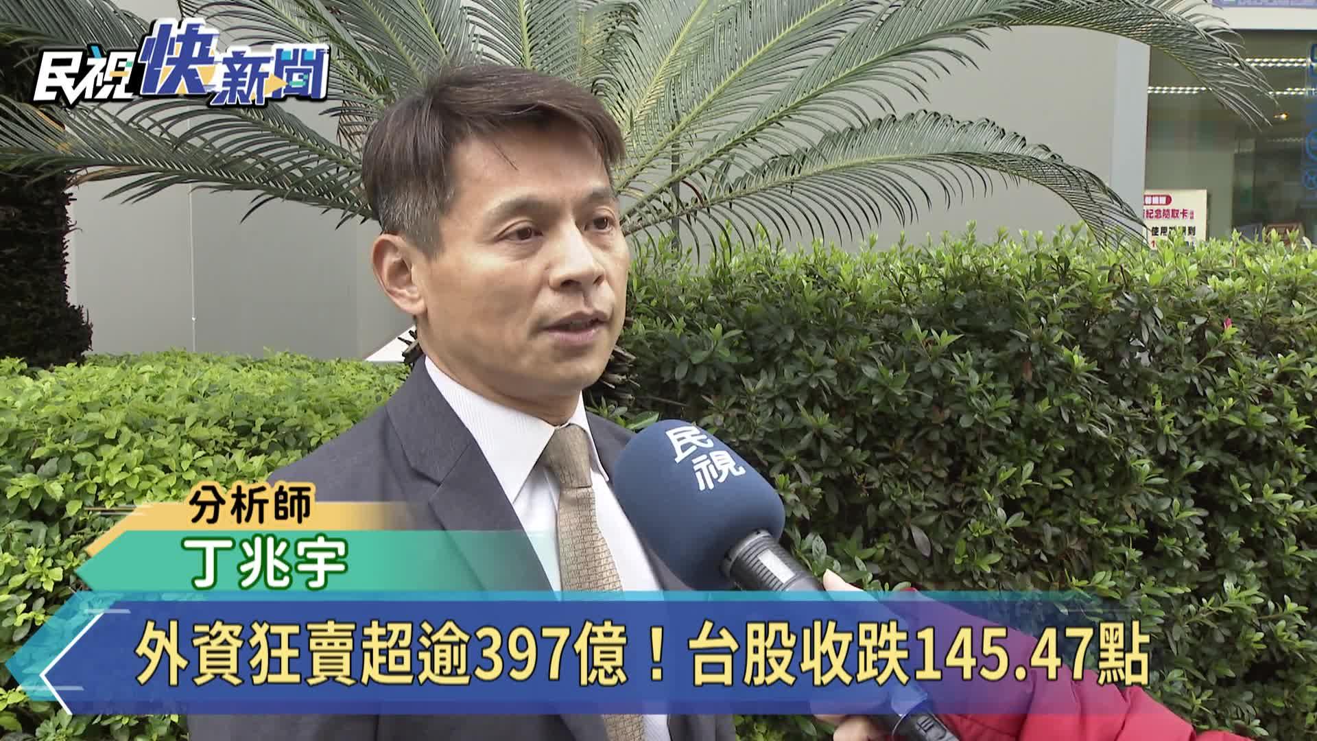 外資賣超逾397億!台股跌145.47點