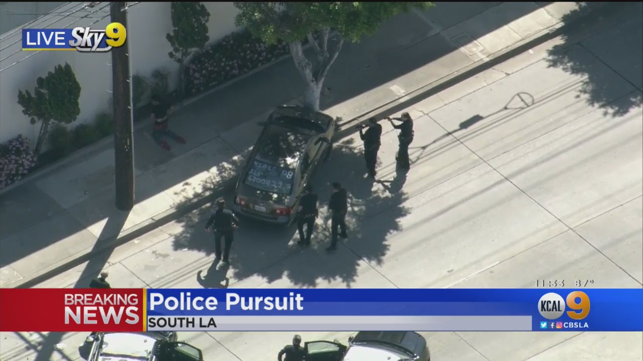 news.yahoo.com: Suspect In Stolen Car Arrested After Wild Chase Through South LA